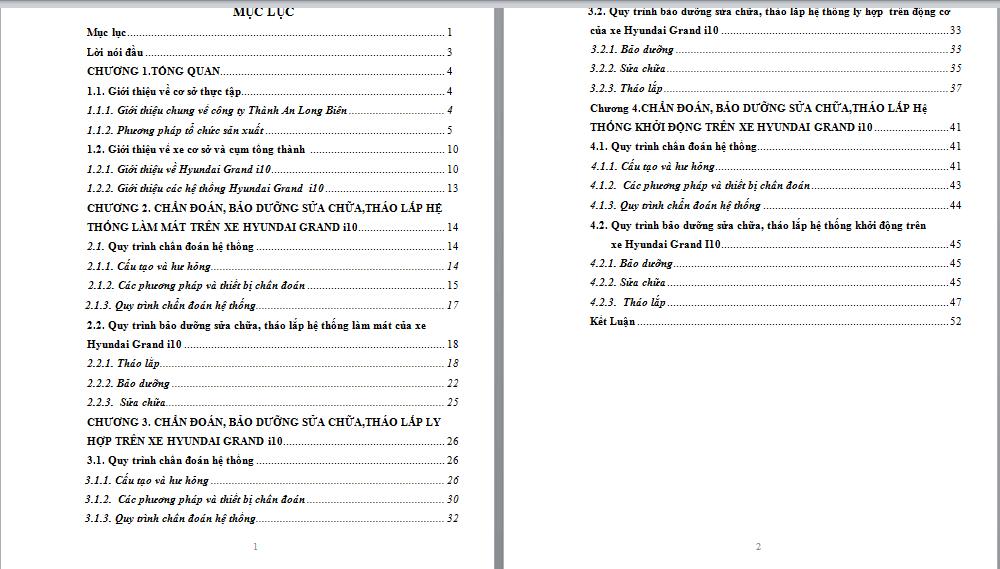 Mẫu trình bày nội dung bài báo cáo tốt nghiệp