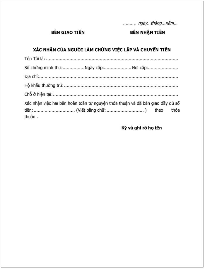 Mẫu giấy biên nhận tiền mặt sử dụng khi giao dịch tiền mặt trực tiếp